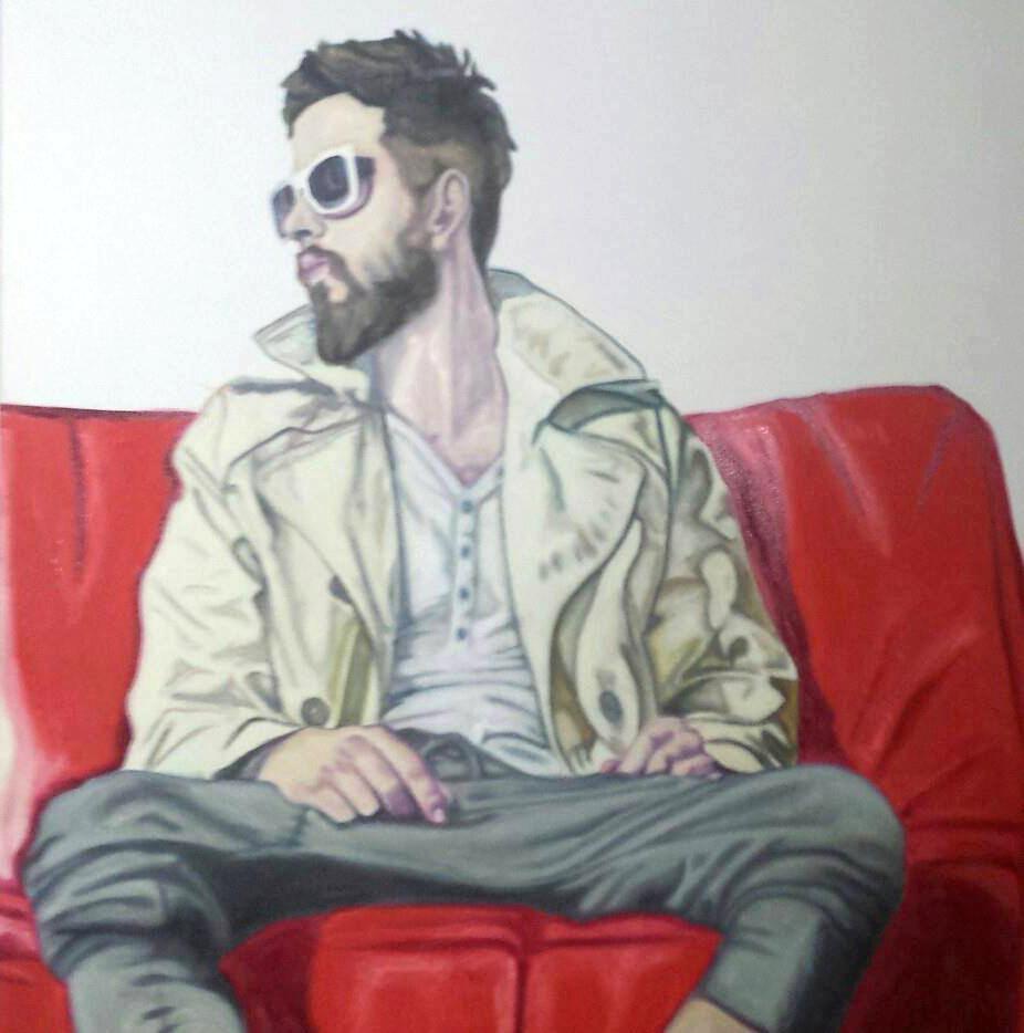 Düsseldorf . Maximilian Siegenbruk .  Kunst . Rotes Sofa . Malerei